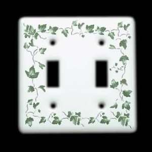 Wall Plates White Porcelain, Ivy Double Toggle switch plate