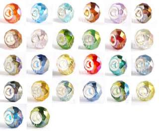 20 pcs AB Crystal Glass European Beads Fit Charms M14