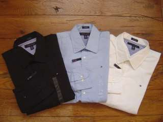 Authentic TOMMY HILFIGER LS Mens Dress Shirt Custom Slim Fit Stretch