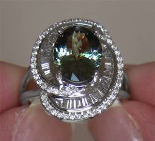 Estate 5.47 Carat Natural Green Tanzanite Diamond Vintage Ring 14k