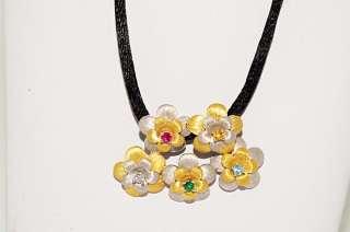 25CT MULTI COLORED GEMSTONE & DIAMOND FLOWER DESIGN NECKLACE