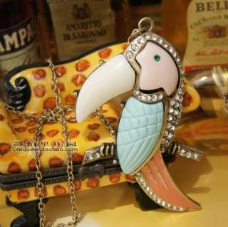 Fashion Cute Crystal Parrot Bird Pendant Sweater necklace n429