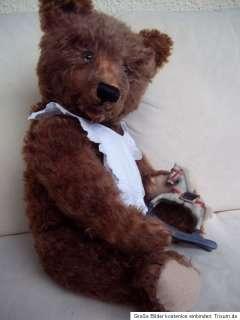 ANTIQUE STEIFF TEDDY BEAR 1904 BROWN w. GROWLER 25.6 INCHES TALL