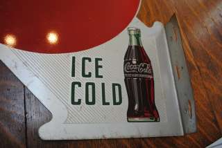 1950s antique vintage Coca cola COKE button & bottle FLANGE SIGN 2