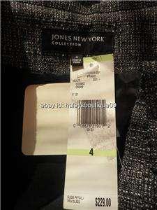 JONES NEW YORK GREY/BLACK WOOL JACKET/TOP LEATHER TRIM