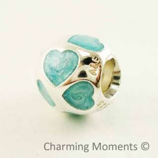 Pandora Silver Charm Love You Light Blue Enamel 790543EN18 Bead