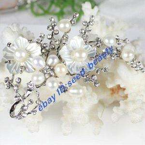 FW Pearl Natural Flower Shell Zircon Gold Plated Brooch