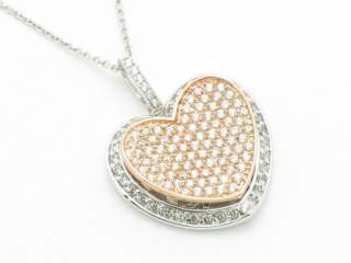 18KT ROSE GOLD PLATINUM SILVER DIAMOND SET MICRO PAVE SAPPHIRE HEART