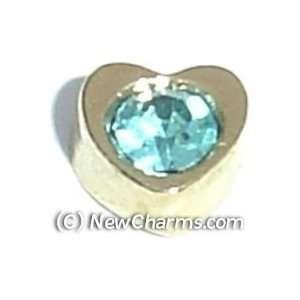 Heart Birthstone March Floating Locket Charm Jewelry