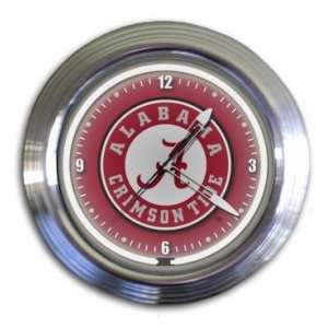 Alabama Crimson Tide Chrome Neon Clock