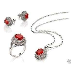 Red Crystal necklace pendant earrings ring set