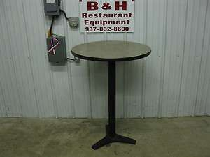 30 Tall Round Tan Restaurant Cafe Table w/ Black Base