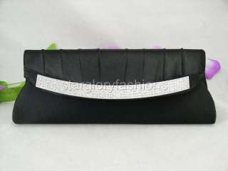 Black Satin RHINESTONES Art Flap Wedding Purse Clutch FER 2726B