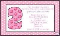 Girls 2nd Birthday Party Invitations~Second~Polka Dot