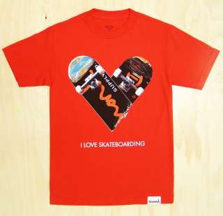 Diamond Supply Co. I love Skateboarding T Shirt Red