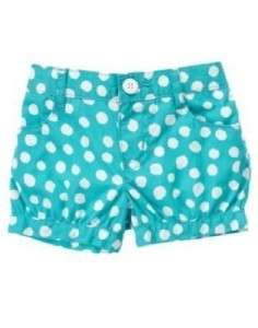 Gymboree Tahitian Butterfly Blue Shorts with White Polka Dots New With