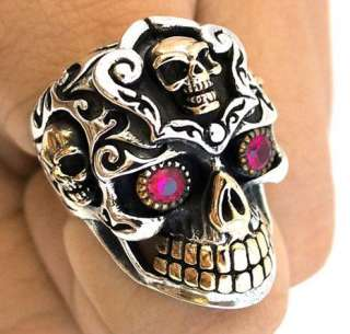 HUGE MEXICAN SKULL STERLING 925 SILVER RING Sz 11 RED RUBY EYES 14K