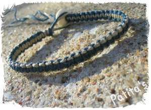 Blue and Natural Macrame Hemp Surfer Skate Bracelet Bone Bead