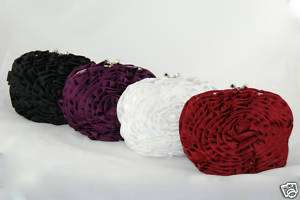 Satin Ruffled Flower Evening bag, Special occasion, Wed