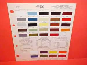 1975 CHEVROLET CORVETTE CAMARO PAINT CHIPS COLOR CHART