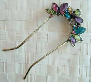SWAROVSKI CRYSTAL VINTAGE FLORAL BUTTERFLY HAIR STICK PIN PICK 385