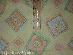 tea time PRECIOUS MOMENTS baby NURSERY yellow COTTON Fabric SEW your