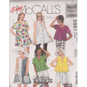 Misses Trapeze Blouse In Two Lengths McCalls Sewing Pattern 5881