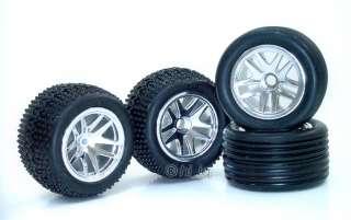 Spoke Chrome Rim+Tire Set Fits Team Losi Micro T