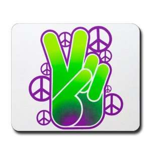 Mousepad (Mouse Pad) Peace Symbol Sign Neon Hand