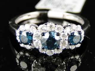 WHITE GOLD 3 STONE BLUE SOLITAIRE ROUND CUT DIAMOND RING 1.03