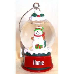Annie Christmas Snowman Snow Globe Name Ornament