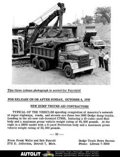 1960 Dodge CT800 Dump Truck Factory Photo