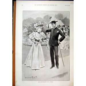 1896 Ascot Horse Race Course Man Woman Romance Print Home