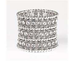 Tone Stretch Bracelet Clear Swarovski Crystals 3 row B317W 3