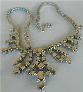 Vintage Weiss Sapphire blue iced rhinestone necklace,Tiered brooch