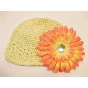 Hat Fits 0   9 Months With a 4 Peach Gerbera Daisy Flower Hair Clip