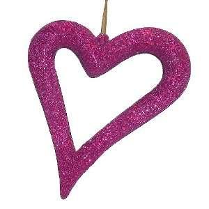 Pink Glitter Asymmetrical Heart Christmas Ornament