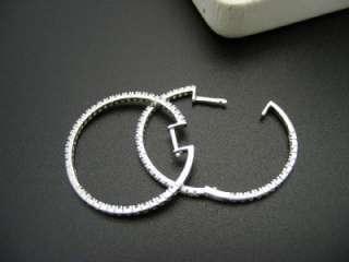 SI1/G Inside & Out Hoop Earrings 14kt White Gold 1.25 Diameter
