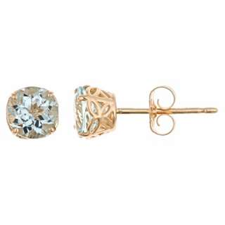 CARAT AQUAMARINE STUD EARRINGS 5mm ROUND 14KT YELLOW GOLD MARCH