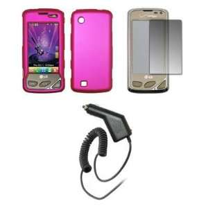 Premium Hot Pink Rubberized Snap On Cover Hard Case Cell