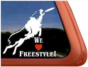 WE LOVE FREESTYLE Frisbee Disc Dog High Quality Vinyl Window Decal