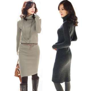 Stylish Casual Woolen Jumper Turtleneck OL Women Slim Dress Long