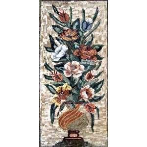 18x44 Flower Mosaic Art Tile Mural Wall Decor