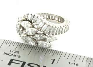 VINTAGE 1950s 14K WHITE GOLD 4.0CT DIAMOND CLUSTER COCKTAIL RING SIZE