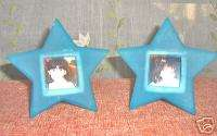 STAR SHAPED PICTURE FRAMES 2 PHOTO HOLDERS TURQUOISE!