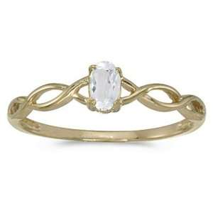 14k Yellow Gold April Birthstone Oval White Topaz Ring Jewelry
