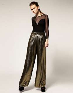 ASOS Revive  ASOS Revive Palazzo Trousers in Gold Metallic Jacquard