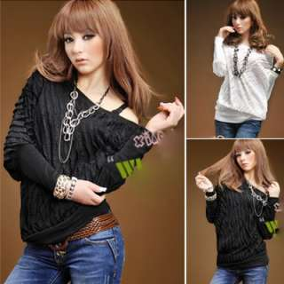 New Ladies Womens Fashion Ruffle Batwing Shirts Tops 2 Color K6026