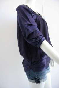NWT Vanessa Bruno Purple Silk Doll Silk Blouse Top 1/S