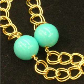 Vintage Kenneth J Lane Chain & Turquoise Bead Necklace